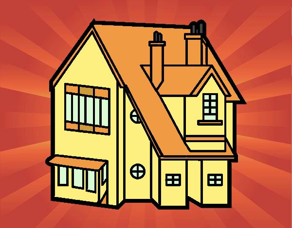 Disegno casa unifamiliare colorato da utente non for Casa disegno