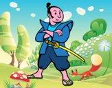 Disegno Samurai adulto pitturato su Achille