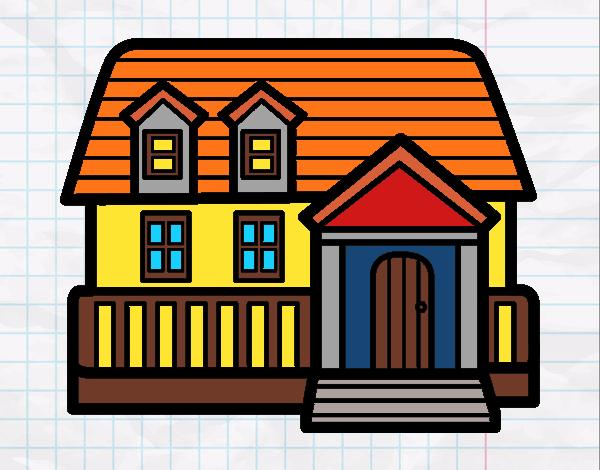 Disegno casa americana colorato da utente non registrato for Casa disegno