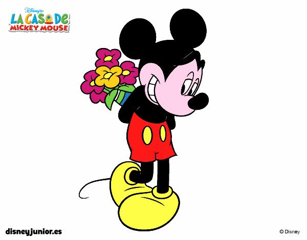 Disegno topolino con un mazzo di fiori colorato da utente for Disegni del mazzo del cortile