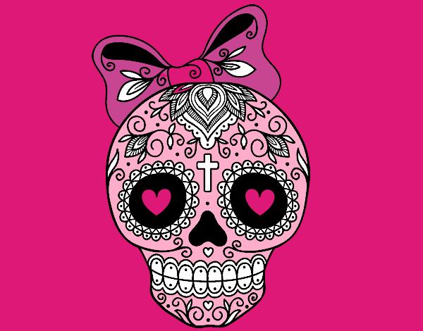 disegno teschio messicano infiocchettata colorato da