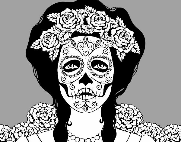 Disegno femmina teschio messicano colorato da utente non for Disegni portico messicano