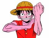 Disegno Monkey D. Luffy pitturato su mitchen