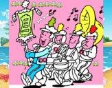 Disegno Banda musicale  pitturato su rebecca24