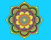 Disegno Mandala fiore orientale pitturato su elino