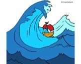 Disegno La grande onda pitturato su paolbi