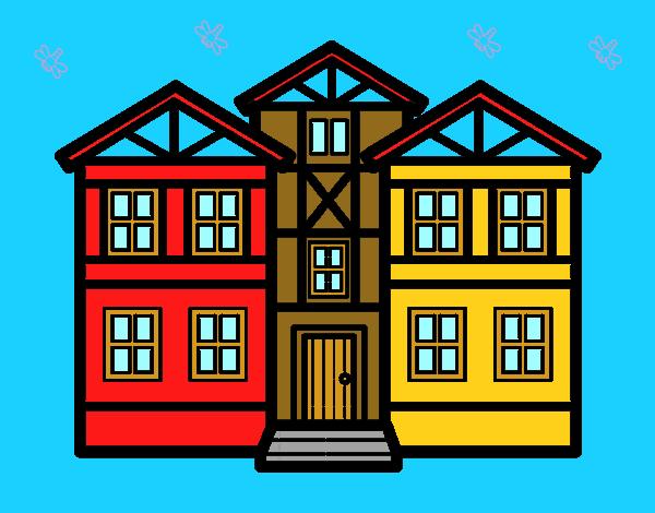 disegno case di campagna con sfondo colorato da utente non