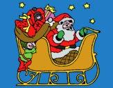 Babbo Natale alla guida della sua slitta