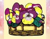 Disegno Paniere di fiori 12 pitturato su stefan
