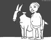 Bambino africano con una capra
