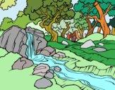 Disegno Paesaggio della foresta con un fiume pitturato su alessia07