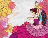 Disegno Donna flamenco pitturato su bb10