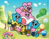 Disegno Gumball e amici felice pitturato su bb10