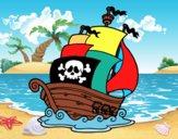 Disegno Nave dei pirati pitturato su bb10