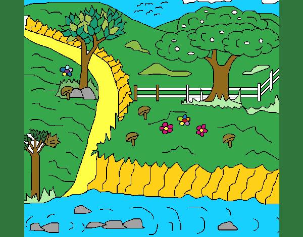 Disegno paesaggio rurale colorato da utente non registrato for Disegni di paesaggi colorati