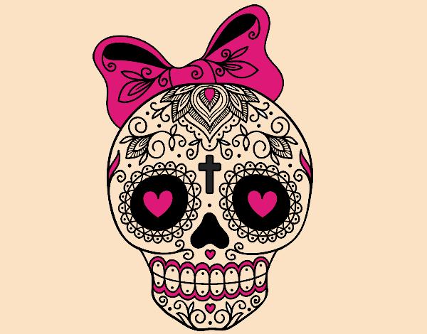 disegno teschio messicano infiocchettata colorato da ForDisegni Portico Messicano