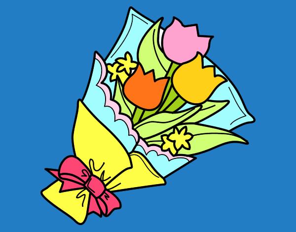 disegno mazzo di tulipani colorato da utente non