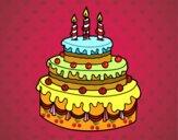 Disegno Dolce di compleanno pitturato su gaga