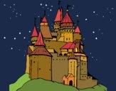 Disegno Castello medievale  pitturato su gaga