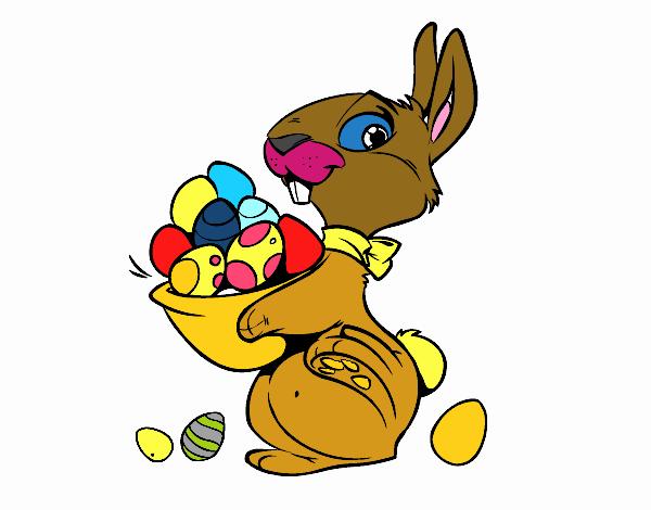 Disegno coniglietto con uovo di pasqua colorato da utente - Lettere stampabili del coniglietto di pasqua ...