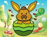 Disegno Coniglio in un guscio pitturato su gaga