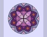 Disegno Mandala 13 pitturato su gaga
