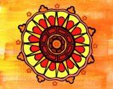 Disegno Mandala con i raggi del sole pitturato su gaga
