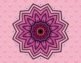 Disegno Mandala fiori de girasole pitturato su gaga