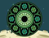 Disegno Mandala fiorito pitturato su gaga