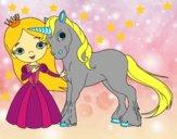 Disegno Principessa e unicorno pitturato su gaga