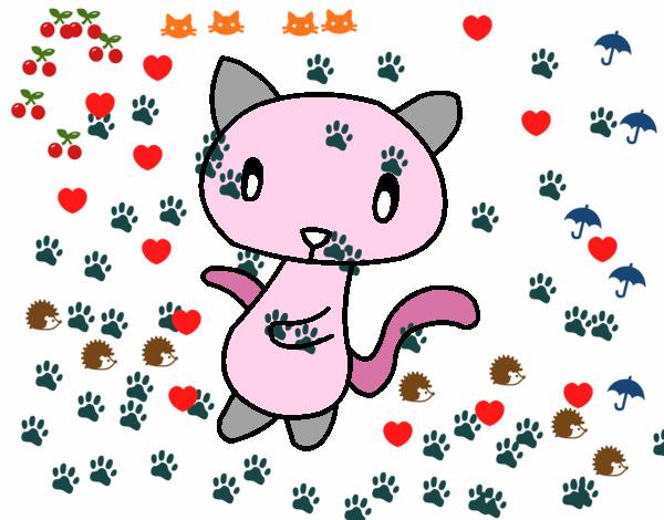 Disegno Gatto scarabocchio  pitturato su amirotto