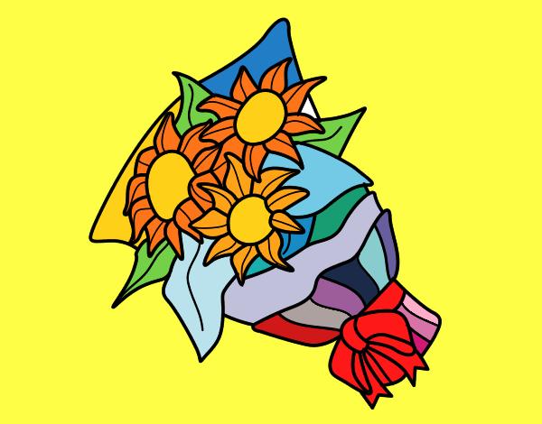 Disegno mazzo di girasoli colorato da utente non for Disegni del mazzo del cortile