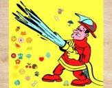 Pompiere con idrante