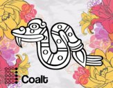 Disegno I giorni Aztechi: serpente Coatl pitturato su hiol