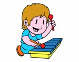 Bambino con xilofono