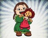 Disegno Bambina con la bambola pitturato su NoExit