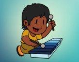 Disegno Bambino con xilofono pitturato su NoExit