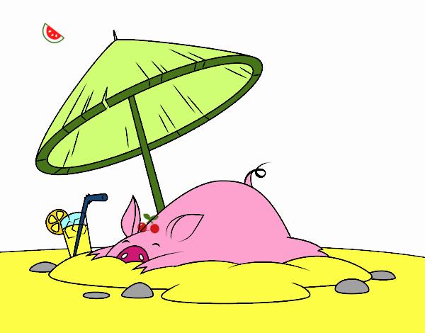 Disegno maialino in spiaggia colorato da utente non for Disegni da camera da spiaggia