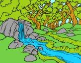 Disegno Paesaggio della foresta con un fiume pitturato su Achille