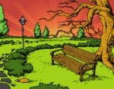 Disegno Parco paesaggistico pitturato su Achille