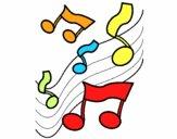 Disegno Note nella scala musicale  pitturato su alessia07