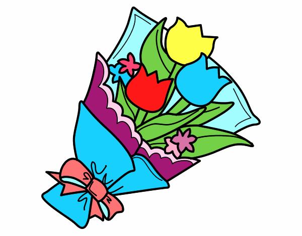 Disegno mazzo di tulipani colorato da utente non for Disegni del mazzo del cortile