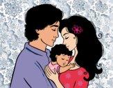 Disegno Famiglia abbraccio pitturato su Skyscraper