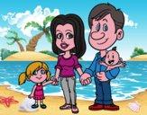 Disegno Famiglia felice pitturato su fiorenzo82