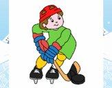 Bambino che gioca a hockey