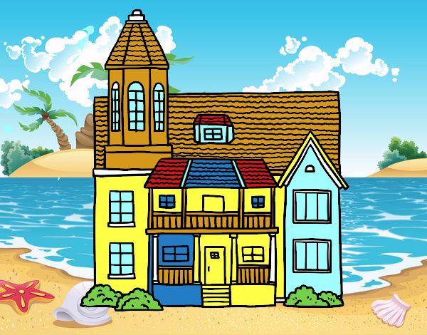 Disegno casa a due piani con torre colorato da utente non for Piani casa americana