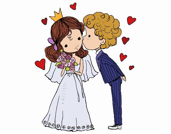 Disegno matrimonio del principe e la principessa colorato for Disegni matrimonio