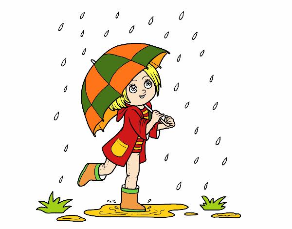 Disegno ragazza con l 39 ombrello sotto la pioggia colorato for Sotto la pioggia ombrelli