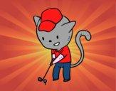 Disegno Gatto golfista pitturato su Mathias