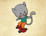 Disegno Gatto skater pitturato su Mathias